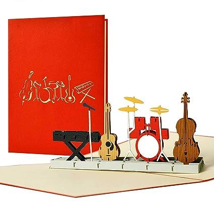3d tarjeta de felicitación con sobre banda auftritt banda música músico de instrumentos musicales Dinero regalo Concierto de cupones tarjeta eintritt ...