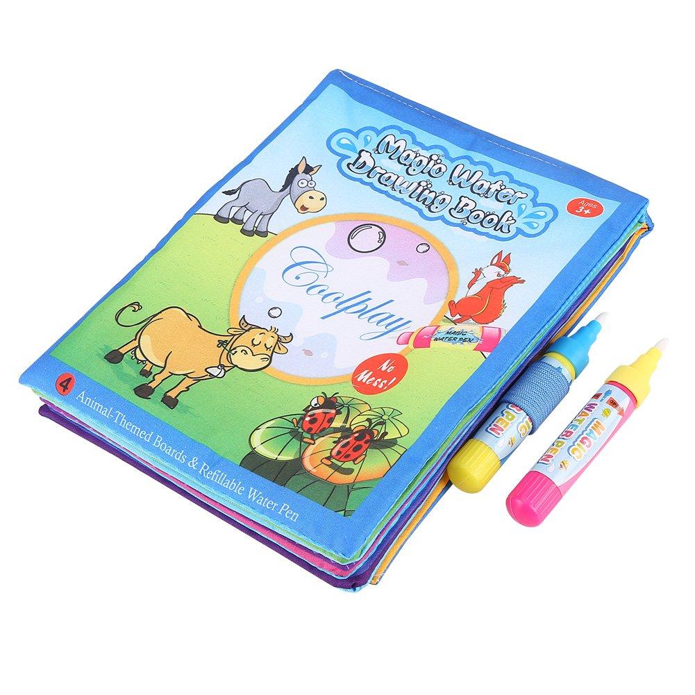 Bambini precoce educazione Magic Water Drawing libro da colorare pittura Doodle libro di panno Giocattoli graffiti con la penna d'acqua per i più piccoli bambini Zerodis