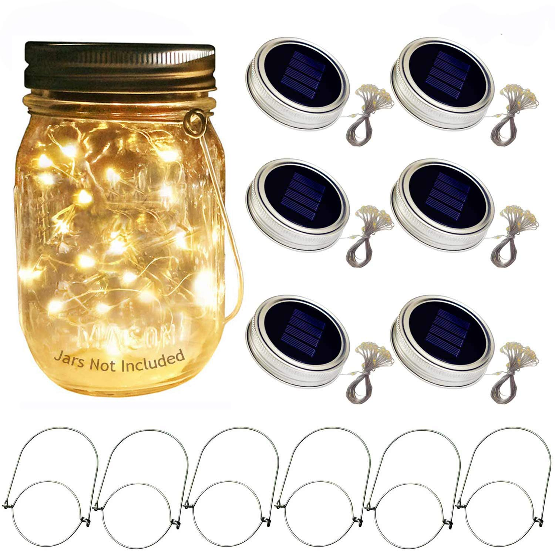 Solar Mason Jar Lid Lights, 6 Pack 20 Led String Fairy Star Firefly Jar Lids Lights,6 Hangers included(Jars Not Included), Best for Mason Jar Decor,Patio Garden Decor Solar Laterns Table Light