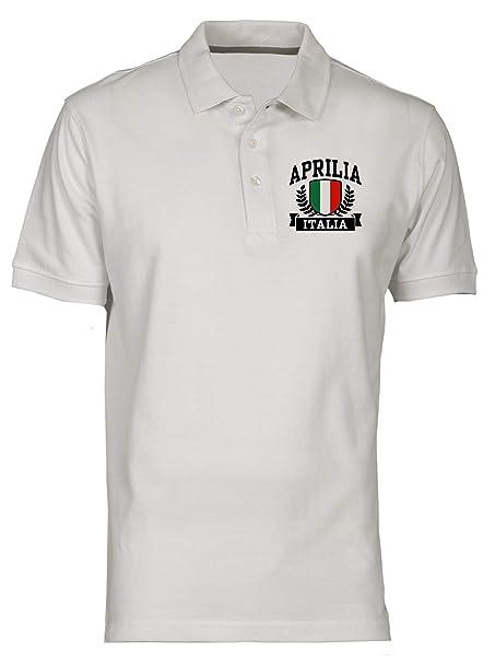 Polo por Hombre Blanco TSTEM0002 Aprilia Italia: Amazon.es: Ropa y ...