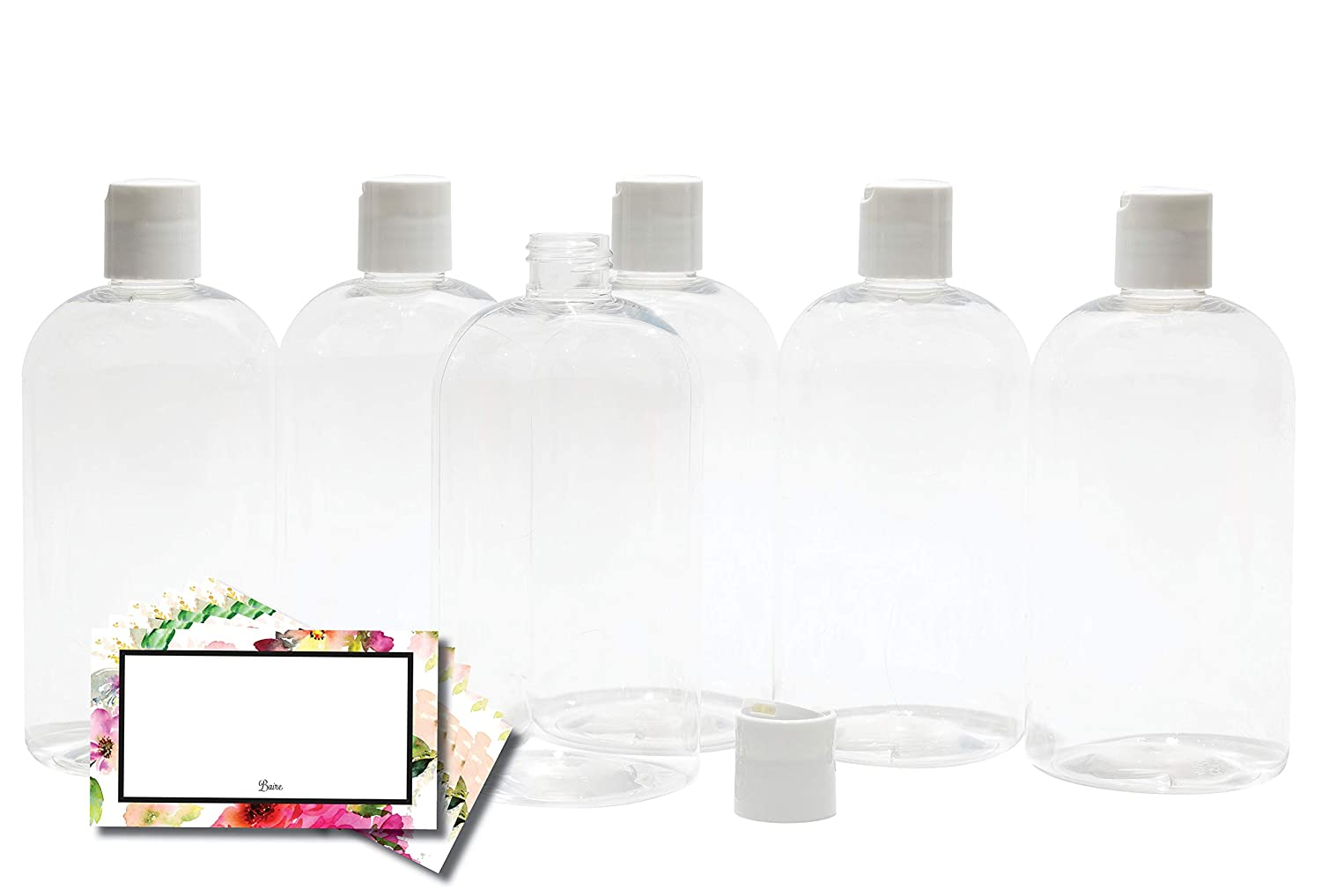Baire Bottles - 8 Ounce Clear Plastic Bottles with White Hand-Press Flip Disc Caps - Organize Soap, Shampoo, Lotion with a Clean, Clear Look - PET, No BPA - 6 Pack, including 6 Floral Labels