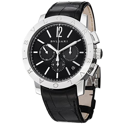 Bvlgari Mens Bulgari 41mm Black Alligator Leather Band Steel Case Automatic Watch 102043 BB41BSLDCH