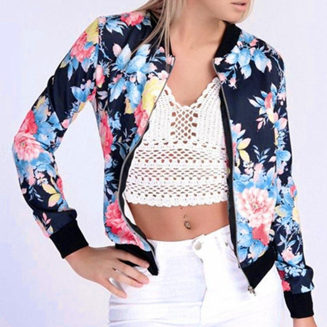 G, S Gillberry Women Stand Collar Long Sleeve Zipper Floral Printed Bomber Jacket