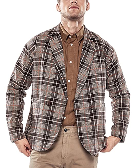 Anyu Chaqueta de Traje Hombres Uno Botón Blazer Abrigos de Cuadros: Amazon.es: Ropa y accesorios
