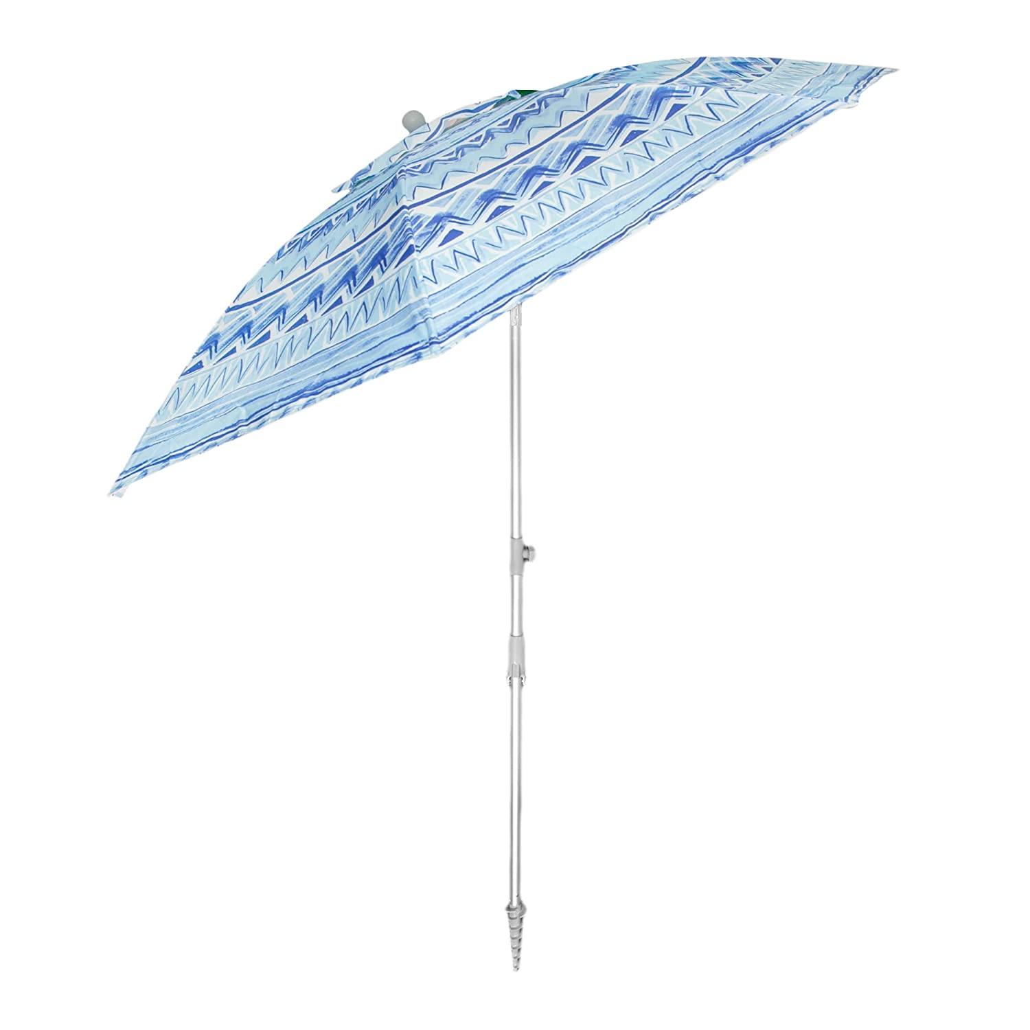 Snail Sand Anchor 7 feet Beach Umbrella with Tilt and Telescoping Pole,Blue White,Green