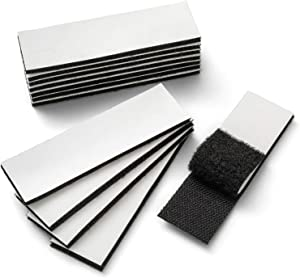 YBWM Heavy Duty Hook and Loop Tape Strips with Adhesive Sticky Back Fastener Pads Double-Side Mounting Tape Industrial Strength Interlocking Tape for Indoor Outdoor (Black, 12Pcs-3.9 x 1.2 Inch)