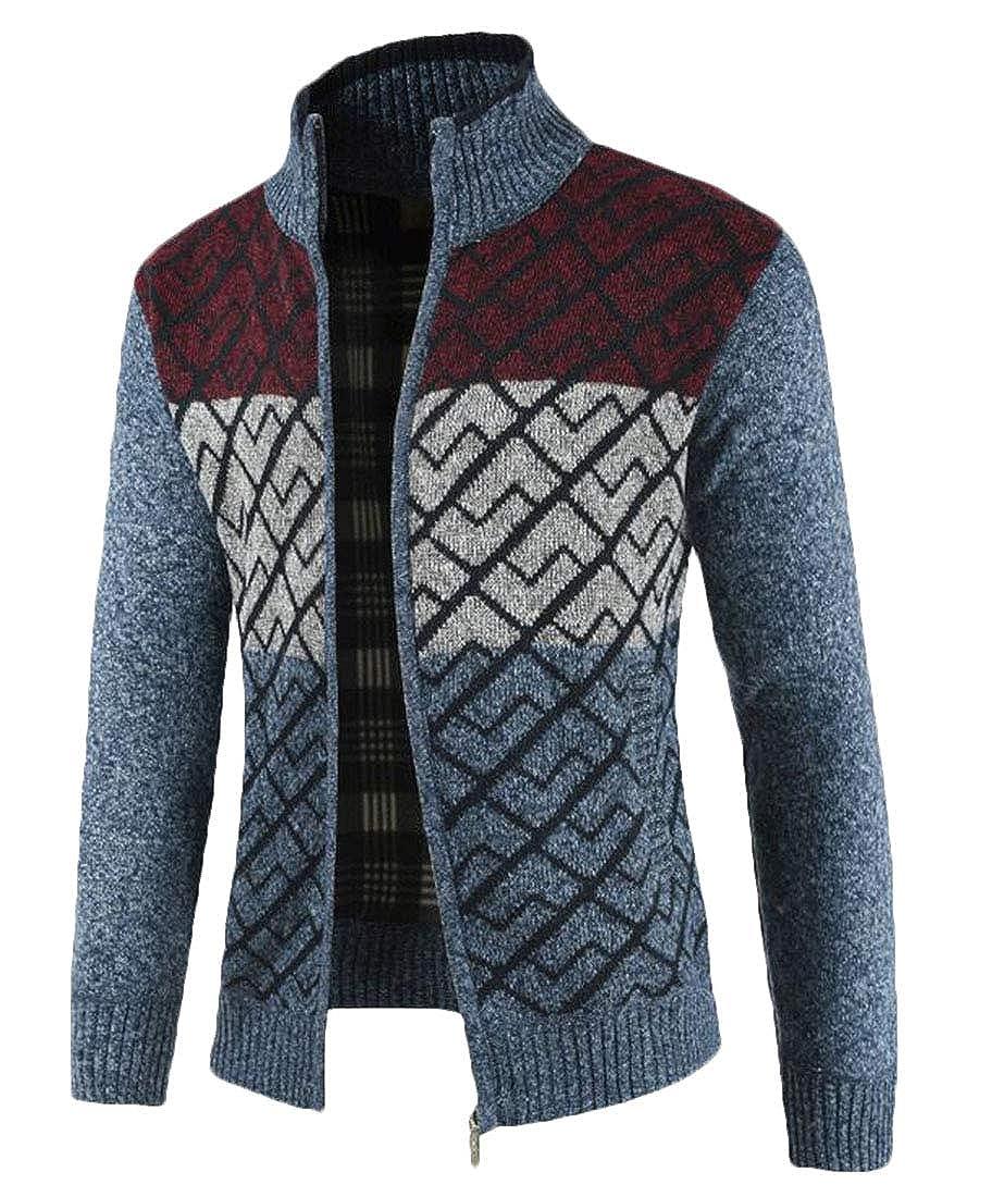 XiaoTianXinMen XTX Mens Winter Stand Collar Zip-Up Knitted Warm Pockets Chevron Sweater Cardigan
