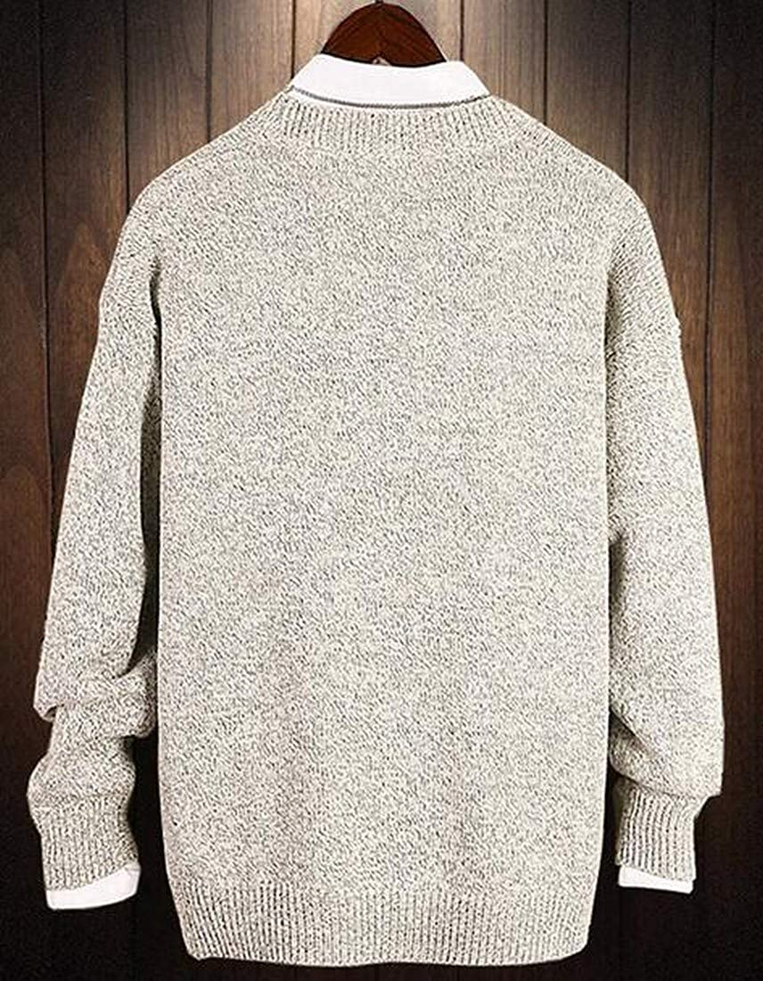 OTW Mens Long Sleeve Loose Knitted Floral Embroidery Crew Pullover Sweater