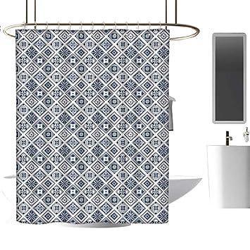 Amazon.com: MKOK - Cortina de ducha con forro azul marino ...