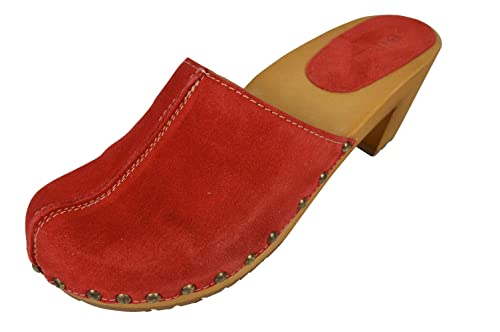Buxa Zuecos de Cuero para Mujer con suela de Madera. Rojo. Talla 40 O6mM3