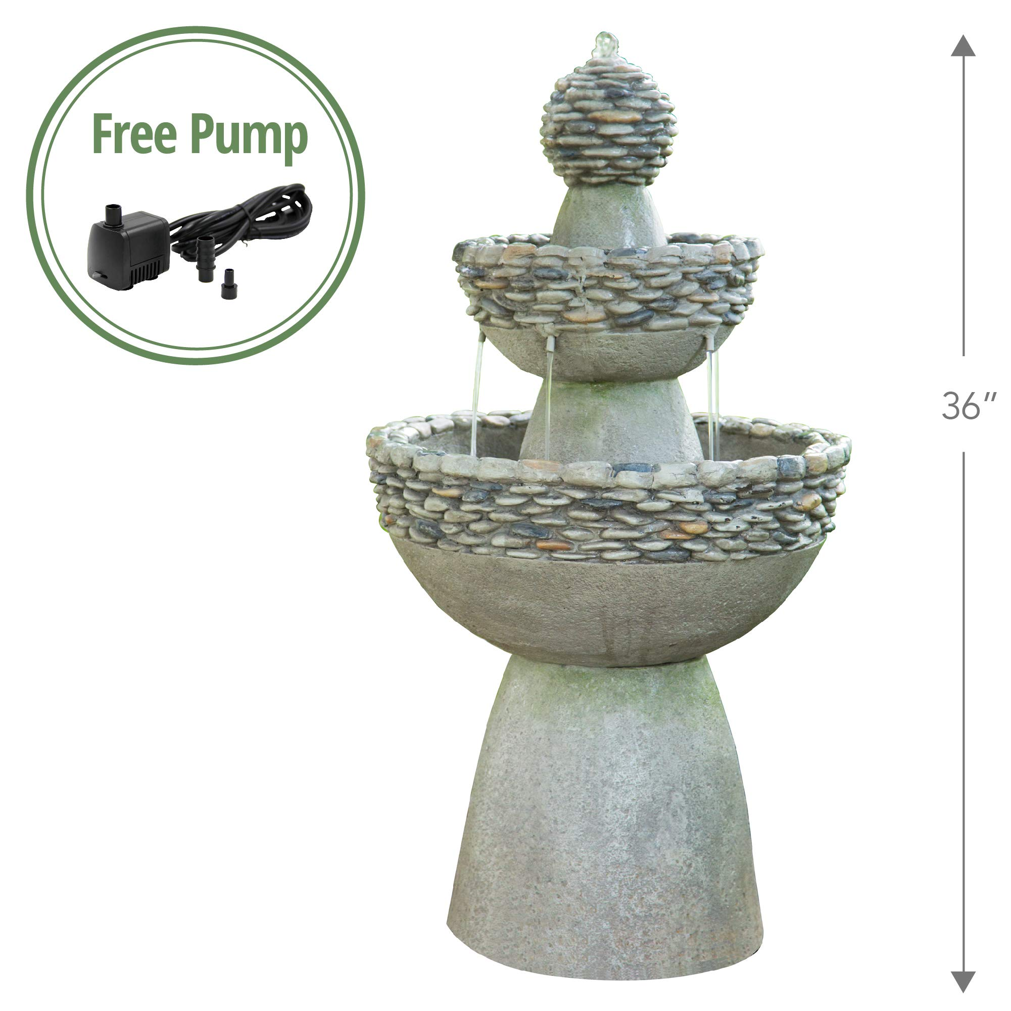 Peaktop - Outdoor Water Fountain, Garden Majestic Zen 3 Tier Stone-Like Finish Waterfall Fountain, 36'' Height
