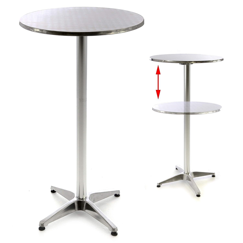 in Acciaio Inox Piastra 2 cm in Alluminio Argentato Lucido per Matrimonio Nexos SC00064 110 cm Piano 60 cm Tavolino da Bar