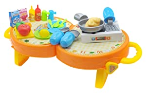 Little Treasures Lovely Kitchen And Dining Table Kit Includes Folding Carry Case, And An Assortment Of Kitchen Utensils, Crockery And A Hob