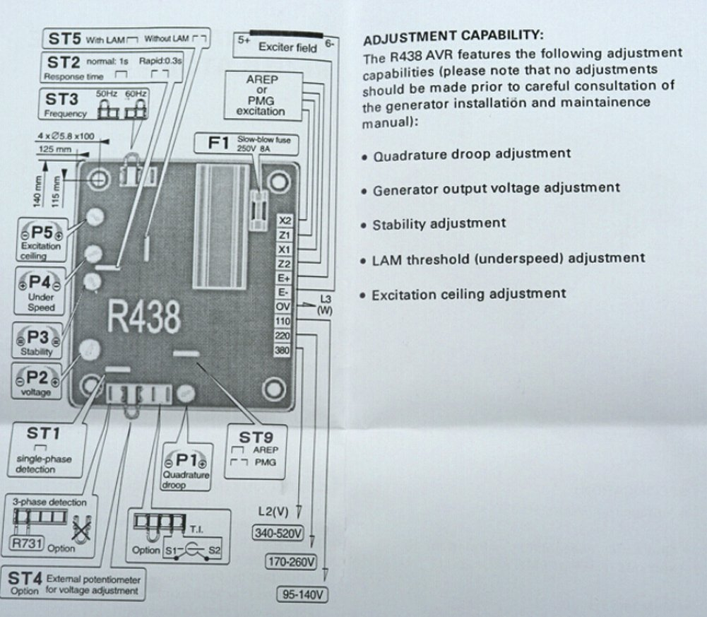 Leroy Somer R438 Voltage Regulator Wiring Diagram On 3 Phase Generator Stator New Automatic Avr For Amazon Comleroy