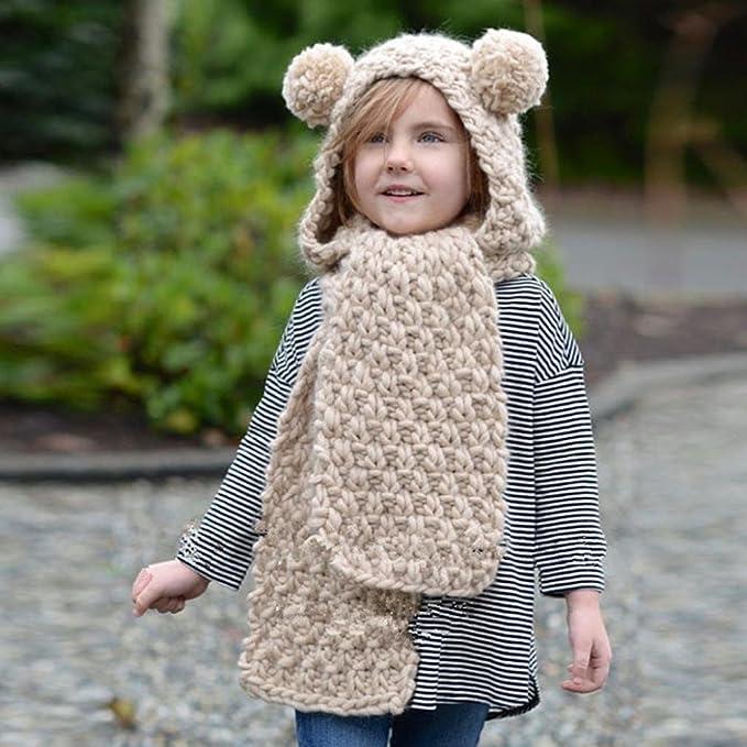 Amlaiworld Otoño invierno lana sombreros de punto Niñas bebé chal capucha  Gorro bufanda (Tamaño libre 3b4264a198c