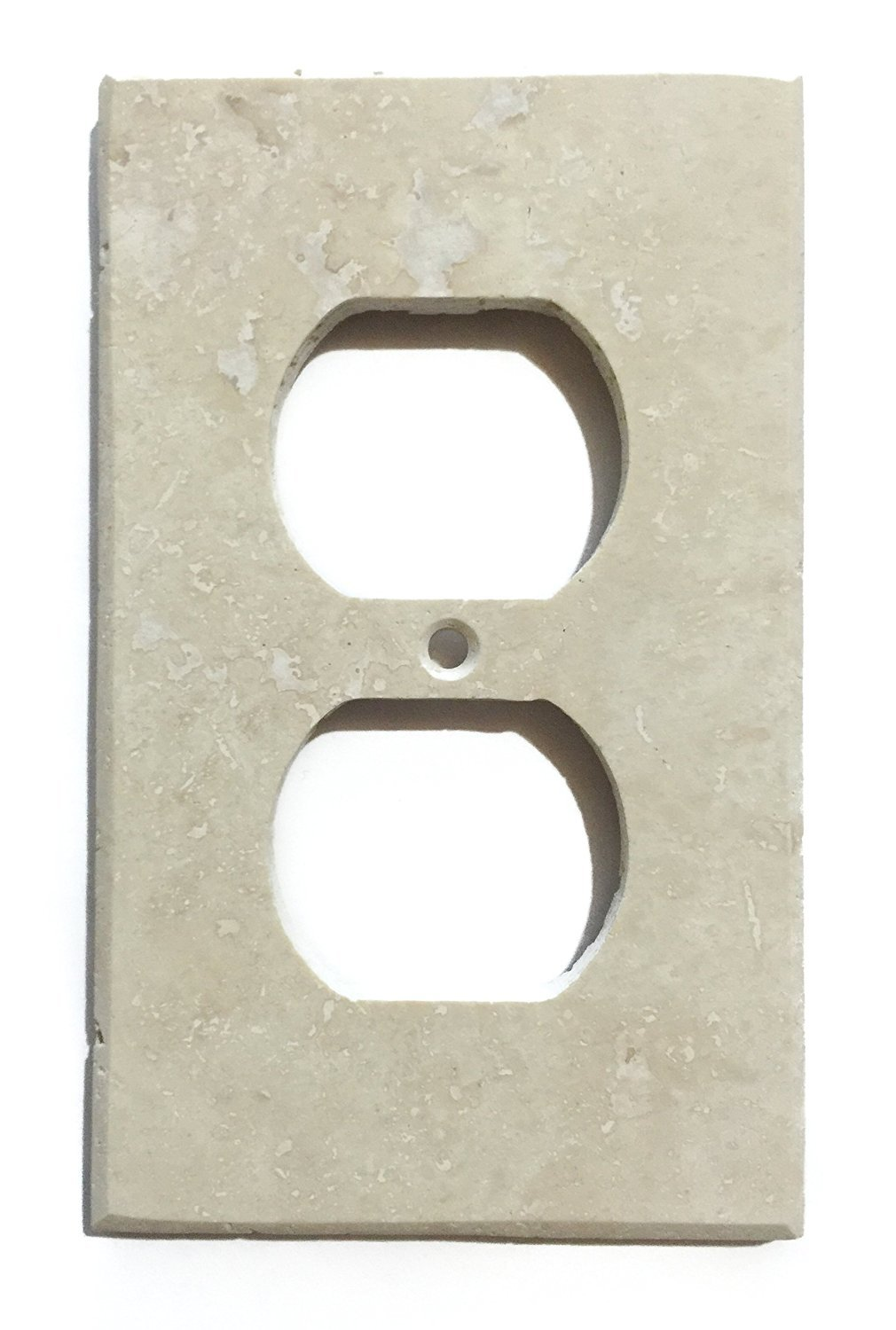 Turkish Ivory Travertine Real Stone Switch Plate Cover Honed-Double Toggle Rocker