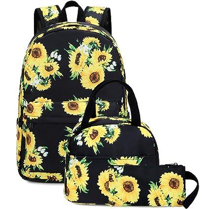 8af527c7fa68 School Backpacks for Teen Girls Lightweight Kids Bookbags Travel Backpack  Set (Sunflower-Black)