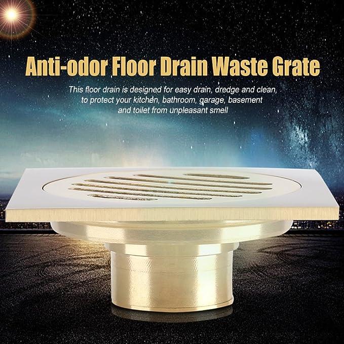 Delaman/® Floor Drain Tile en el Ba/ño Ducha Cazador de Cabello Cuadrado Anti-Olor Tamiz Desmontable Cobre Antiguo