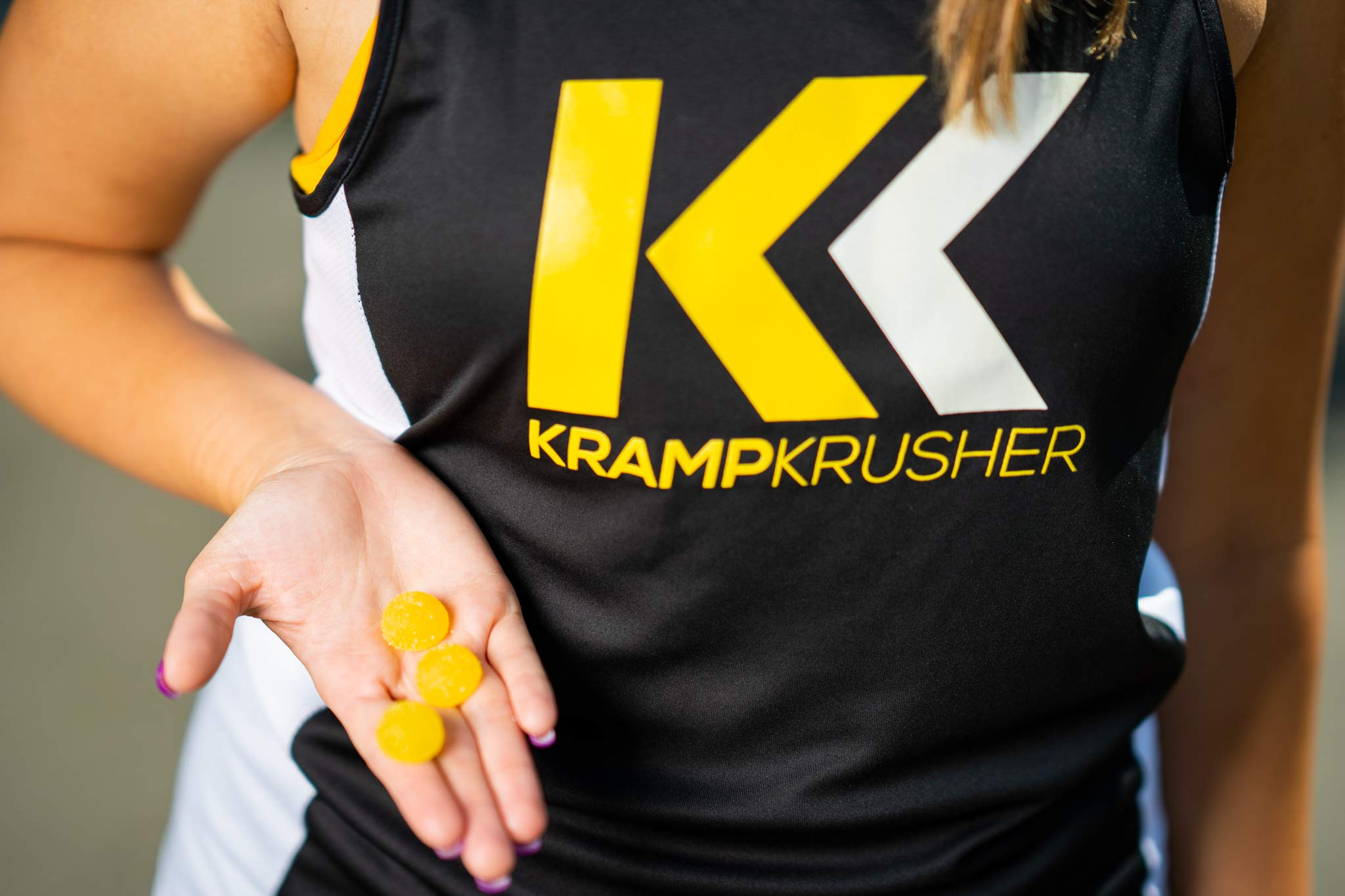 Kramp Krusher: Vegan Energy Chews with Potassium Electrolytes | Caffeine Free Pre Workout Gummies for Leg Cramps, Sports, Running, and Fitness Training | On-The-Go Endurance Enhancers (Lemon12 Pack)