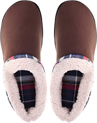 Vonmay Men's Memory Foam Slippers Wool Fleece Slip on Mules Clogs House Shoes Indoor Outdoor Anti-Skid Rubber Sole
