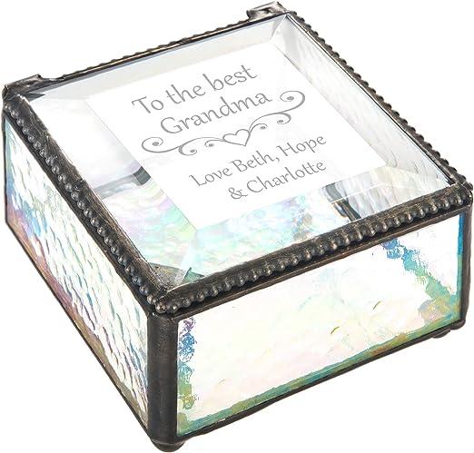 Glass Box Personalized Grandma Gift Jewelry Box Keepsake Vanity Organizer Decorative Display Case Birthday Mother S Day Nana Mimi J Devlin Box 909 Eb255 Home Improvement