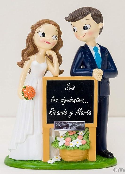 Figura GRABADA de boda novios pizarra para tarta pastel ...
