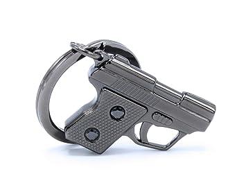 Llavero con pistola estilo Gangsta de cromo y color negro 3D ...
