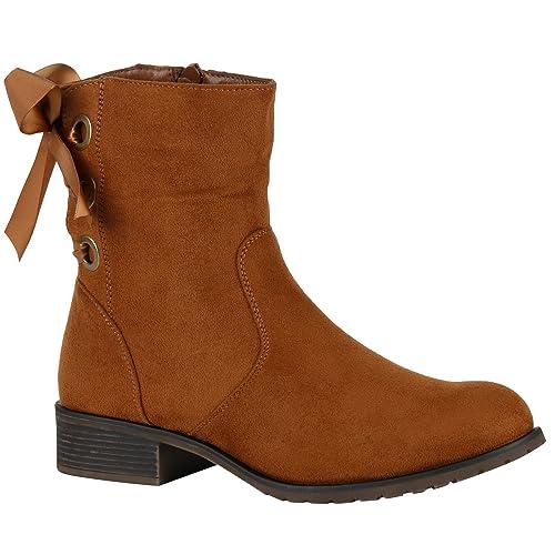 Stiefelparadies Klassische Stiefel Damen Boots Leder Optik