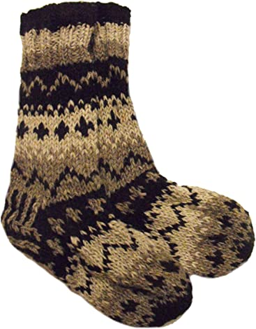 cb6a54ebbc45b Handknitted Fair Trade Woollen Nepalese Traditional Fleece Lined Black and  White Slipper Socks