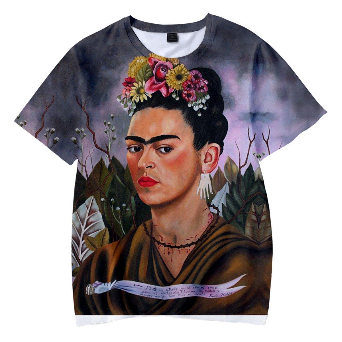 SIMYJOY Unisex Frida Kahlo Poster T-Shirt 3D Stampa T-Shirt Artist Messicana Vintage Style Cool Modern Rockabilly Summer Streetwear Tee per Uomo Donna Giovani PSIMQ1022-TX-W