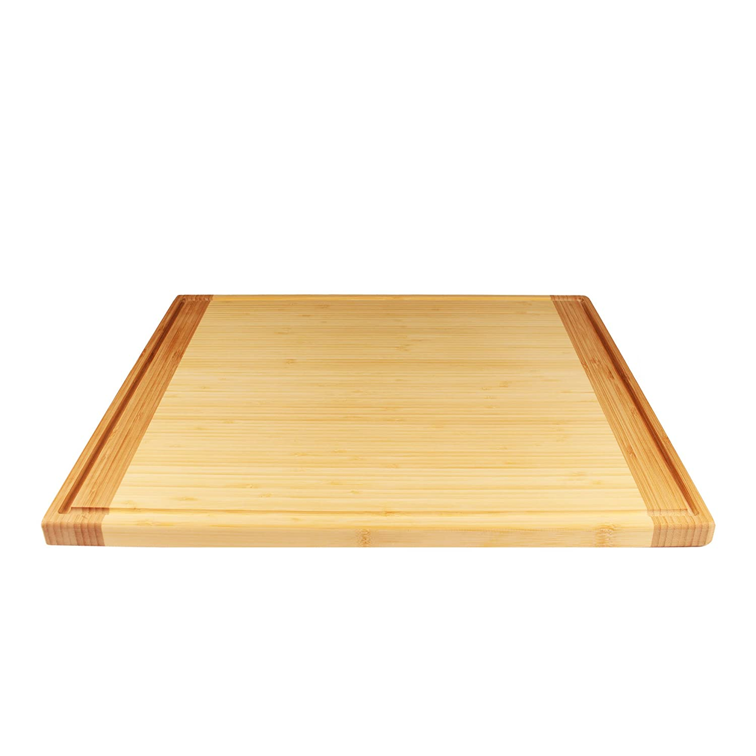 """BambooMN Universal Premium Pull Out Cutting Boards - Under Counter Replacement - Designed To Fit Standard Slots Heavy Duty Kitchen Board with Juice Groove - 20"""" x 14"""" x 0.75"""" - 1 Piece"""