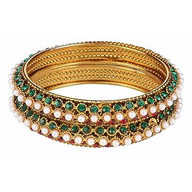 Learned Traditional Ethnic Goldtone 2pc Bangle Set Women Bracelet Indian Party Jewellery Engagement & Wedding