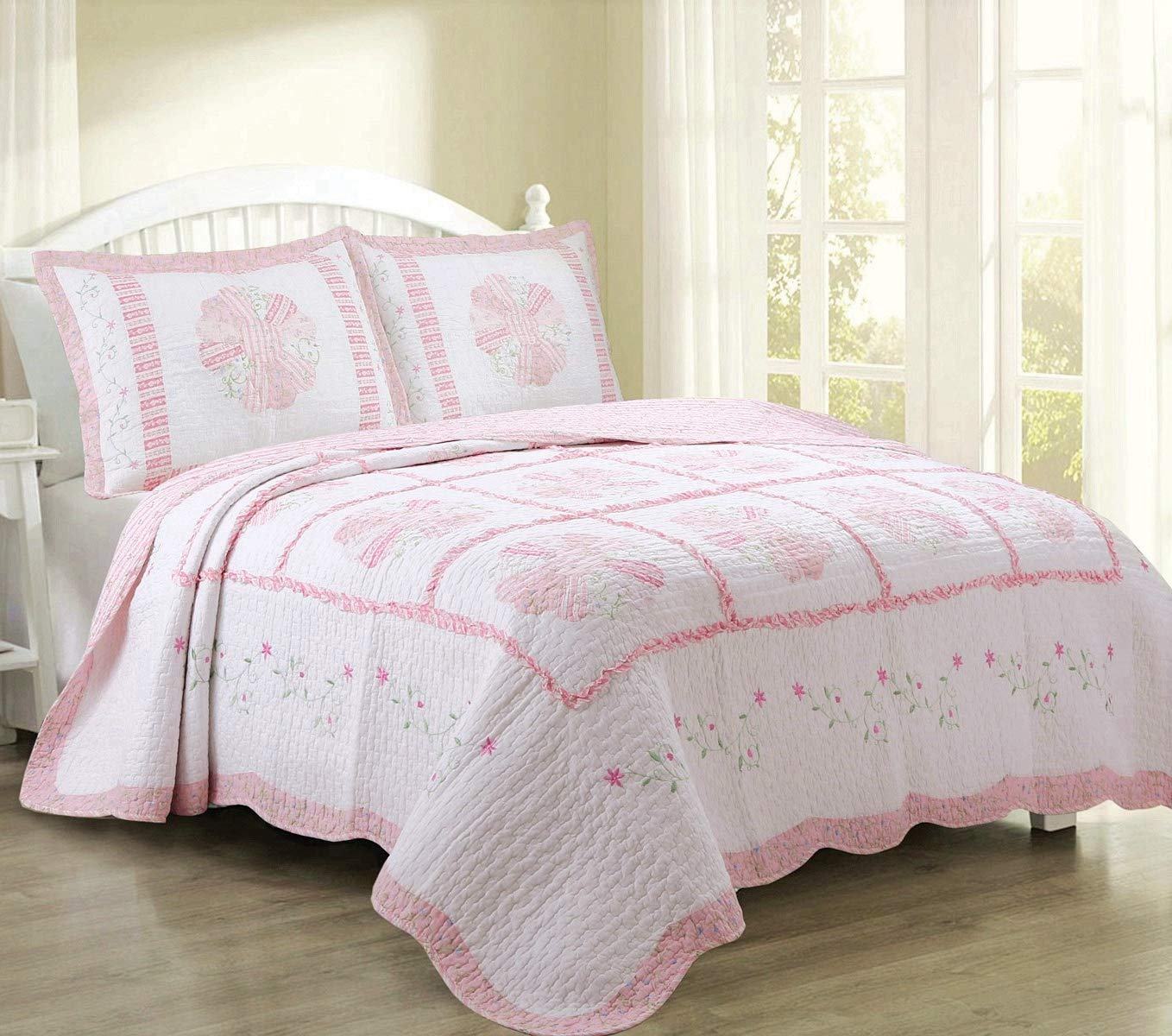Cozy Line Home Fashions Daisy Field Bedding Quilt Set, Pink White Flower Floral Embroidered Real Patchwork 100% Cotton Reversible Coverlet Bedspread, Gifts for Kids Girl Women (Pink, Queen - 3 Piece)