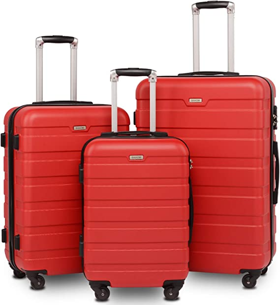 BAHOM 3 Piece Luggage Sets with Spinner Wheels