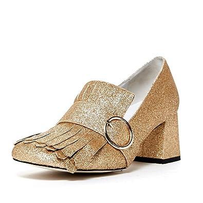 e5cf7d1e671 Jeffrey Campbell  Bernice  Kiltie Slip On Gold Glitter Chunky Block Buckle  Pump ...
