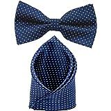 Sorella'z Mens Navy Blue Dotted Bow & Pocket Square Combo