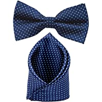 Sorella'z Mens Navy Blue Dotted Bow & Pocket Square Combo