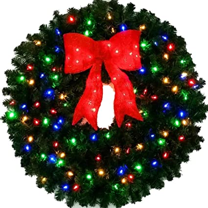 3 Foot Color Changing L.E.D. Christmas Wreath with Pre-lit Red Bow - 36 inch - Amazon.com: 3 Foot Color Changing L.E.D. Christmas Wreath With Pre