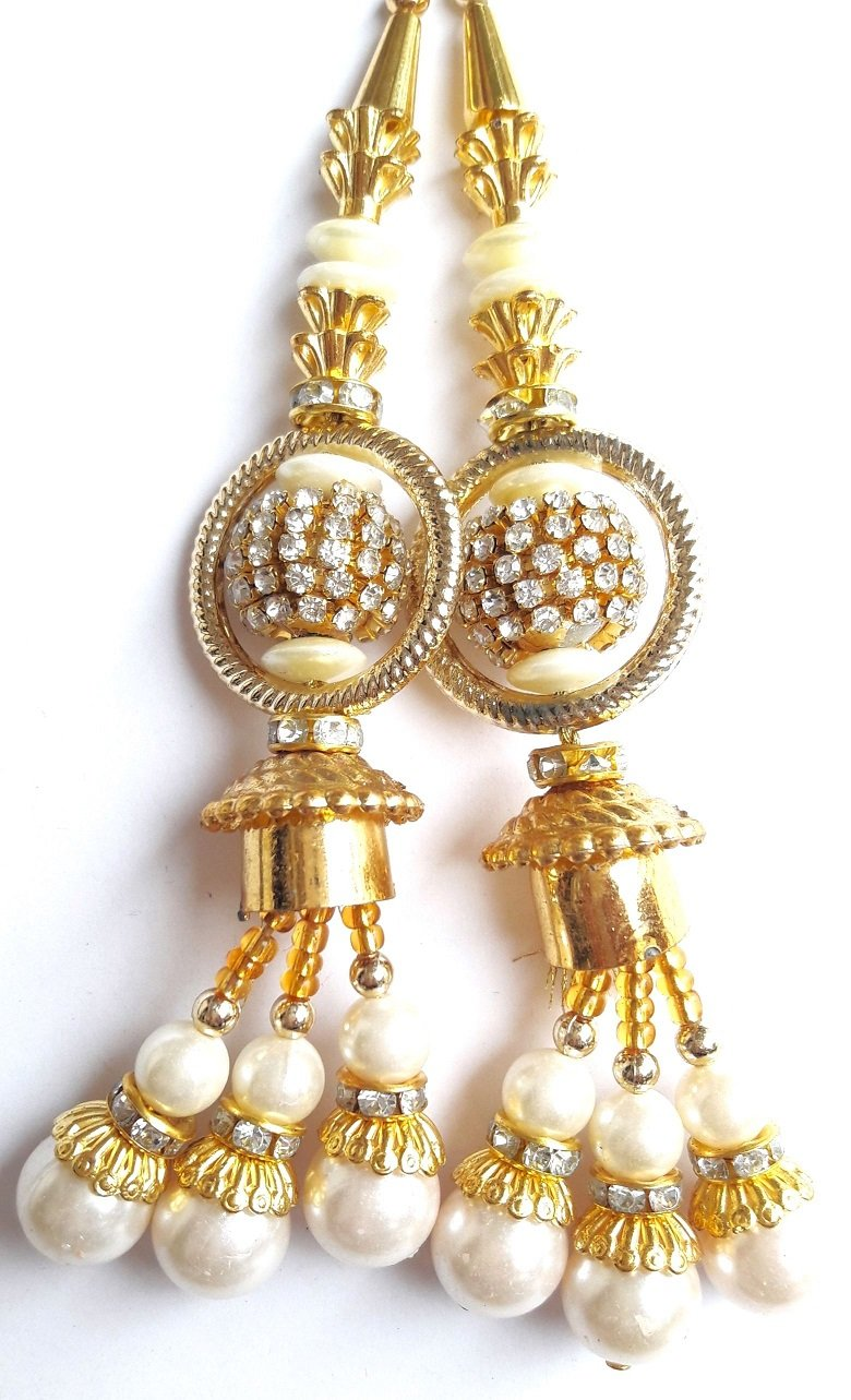 Beaded Blouse Latkans Gold Decorative Keychain Tassels Supply Crafting 1 Pair art indo