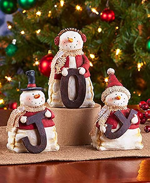 snowman joy figurines christmas decoration - Joy Christmas Decoration