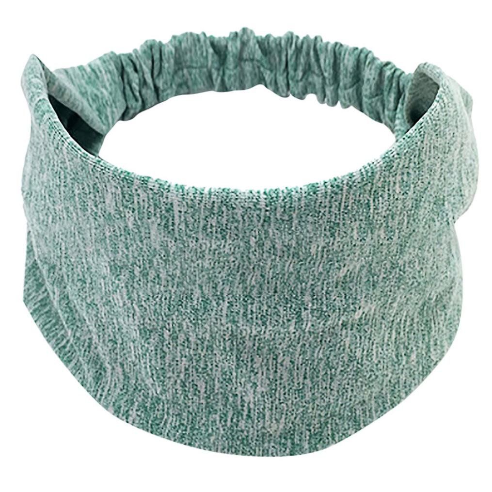 Sport Sweatband Headband, Women Stretch Cotton Knotted Turban Head Warp Hair Band Wide Elastic Yoga Headbands (Mint Green)