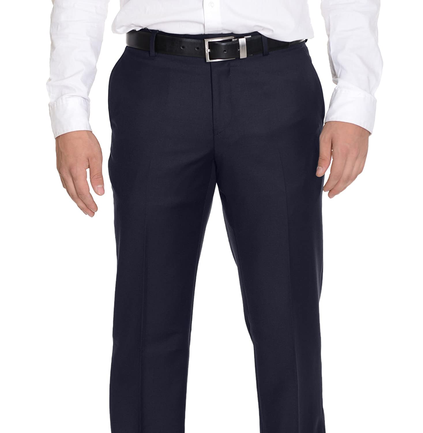 Mens Extra Slim Fit Solid Navy Blue Flat Front Wool Dress Pants ...