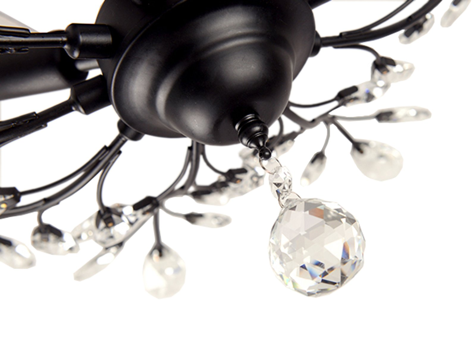 SEOL-LIGHT Vintage Large Crystal Branches Chandeliers Black Ceiling Light Flush Mounted Fixture with 5 Light 200W Large Size by SEOL LIGHT (Image #4)