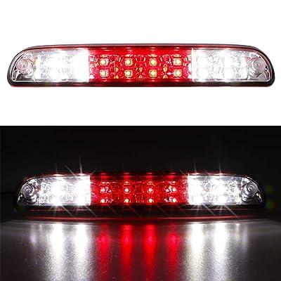 For 99-16 F250 F350 F-450 F-550 Ford Super Duty/93-11 Ranger/01-05 Ford Explorer/94-10 Mazda B-Series LED 3rd Brake Light High Mount Trailer Cargo Lamp (Chrome Housing Red Lens): Automotive