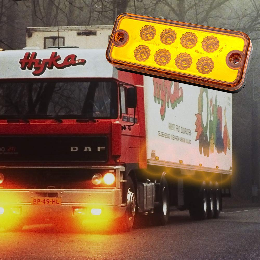 caravana MASO 4 luces de marcador lateral 12 V//24 V universal indicador de posici/ón luces LED delanteras traseras con bombillas de /ámbar naranja para cami/ón remolque
