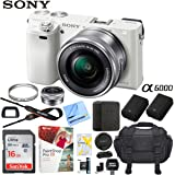 Sony Alpha a6000 Mirrorless Digital Camera 24.3MP SLR (Black) w/16-50mm Lens ILCE-6000L/B with Extra Battery Case 16GB Memory Deluxe Pro Bundle (Essential 16GB Kit, White)