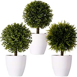 """FagusHome 8"""" Artificial Plants Potted Mini Artificial Boxwood Topiary Tree Artificial Ball Shaped Tree Fake Fresh Green Grass Flower in White Plastic Pot for Home Décor – Set of 3 (B)"""