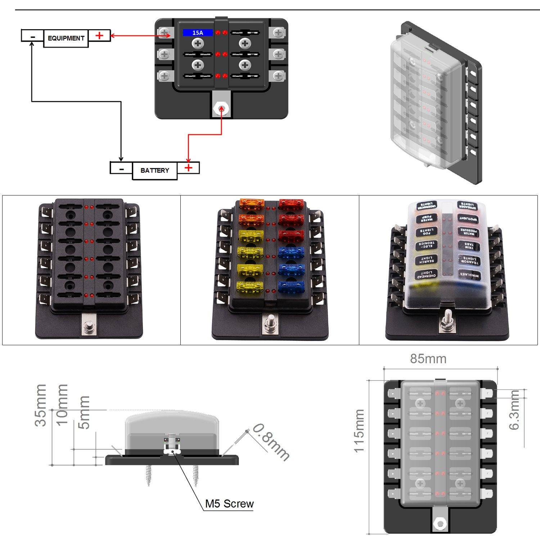 12 Ways LED Warning Blade Fuse Box Holder Fuse Block for Car, Boat, Marine Trike (Plate Copper Terminal) by Genuiskids (Image #2)
