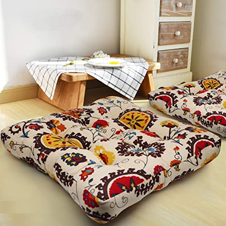 HIGOGOGO Square Floor Pillow Cushion, Cotton Linen Meditation Cushion Yoga Seating Bohemian India Style Decoration for Indoor Outdoor Garden Party ...