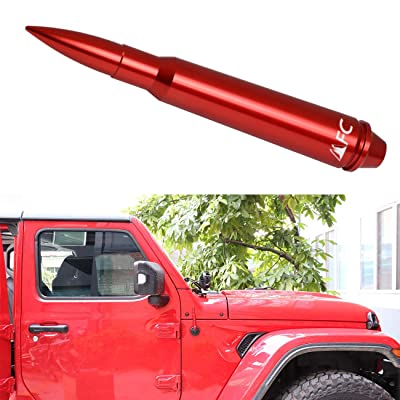 "5.7"" Red Heavy Gauge Billet Aluminum Antenna Replacement AM FM Radio Signal Reception for Jeep Wrangler JK & JL & TJ(1997-2020) 